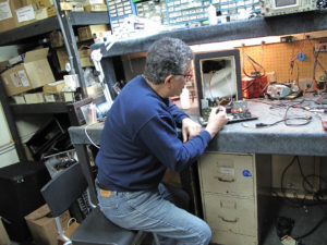 Repair technician Mike Skory hard at work